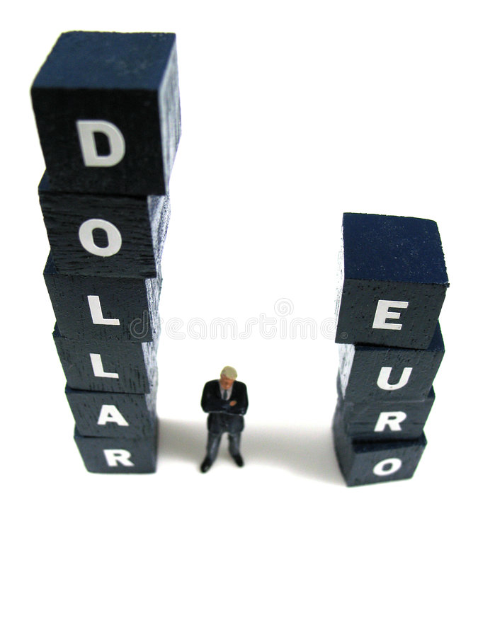 Dollar contre l'euro photographie stock