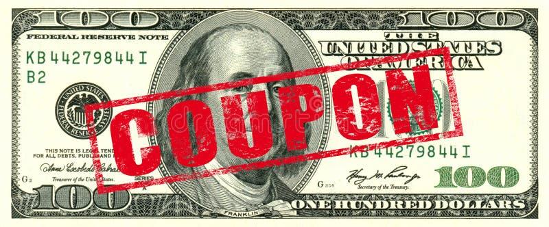 100 Dollar Coupon stock photo