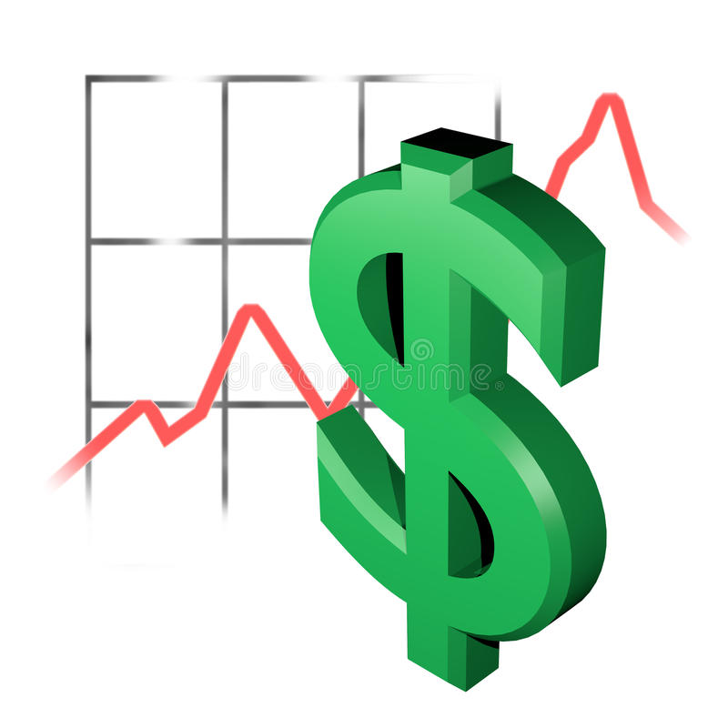 Dollar course. An 3d dollar in front of some radom statistic drawings royalty free illustration