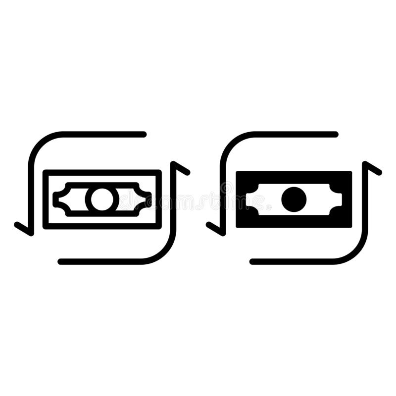 Dollar course line and glyph icon. Currency vector illustration isolated on white. Finance outline style design royalty free illustration
