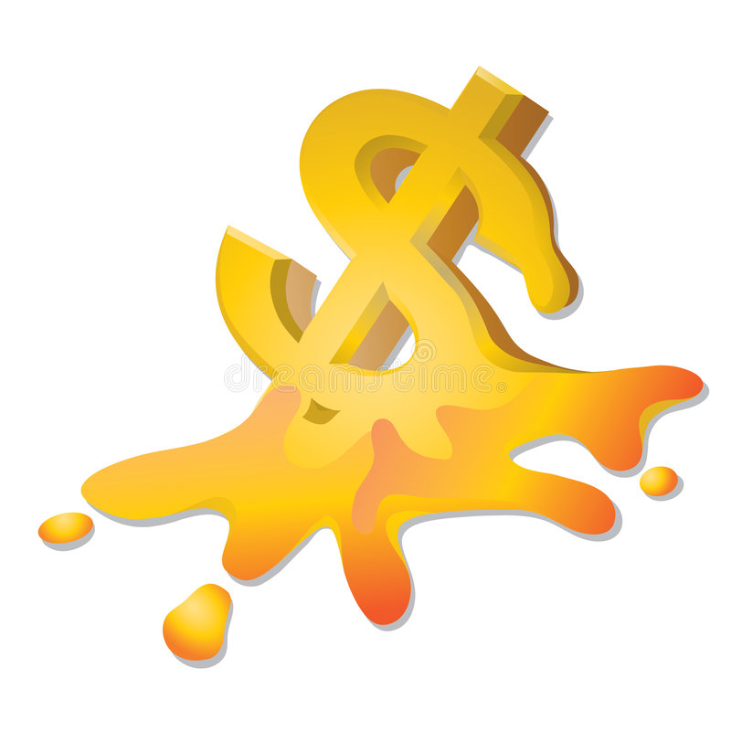 Dollar crisis. Illustration of melting dollar symbols isolated over white background business concept: dollar crisis,economic crisis royalty free illustration