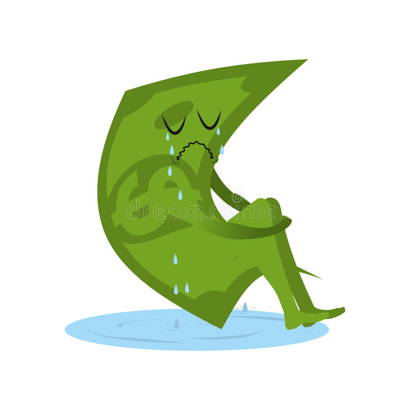 Dollar crying. Money in puddle of tears. Yearning and sob capital. Sad cash. Abandoned, useless currency. Illustration bankruptcy stock illustration