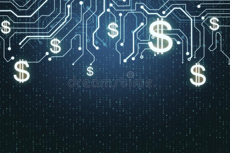 Dollar and cryptocurrency concept. Abstract glowing money circuit and binary code background. Dollar and cryptocurrency concept. 3D Rendering vector illustration