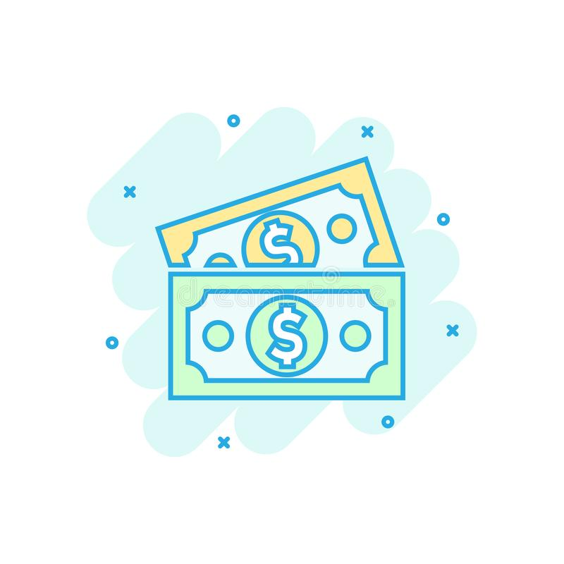 Dollar currency banknote icon in comic style. Dollar cash vector cartoon illustration pictogram. Banknote bill business concept vector illustration