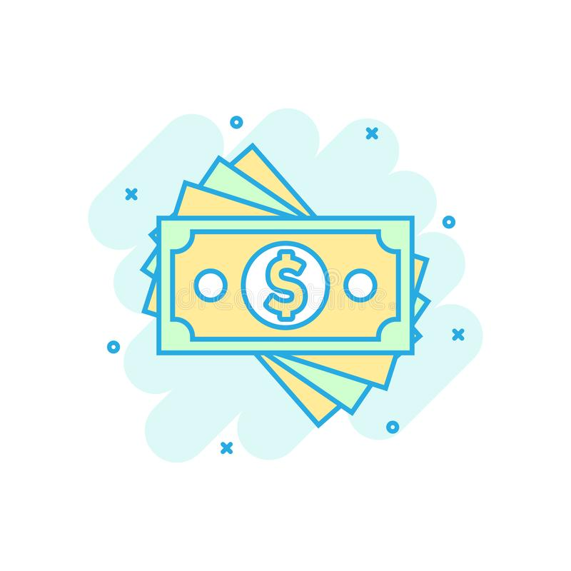 Dollar currency banknote icon in comic style. Dollar cash vector cartoon illustration pictogram. Banknote bill business concept royalty free illustration