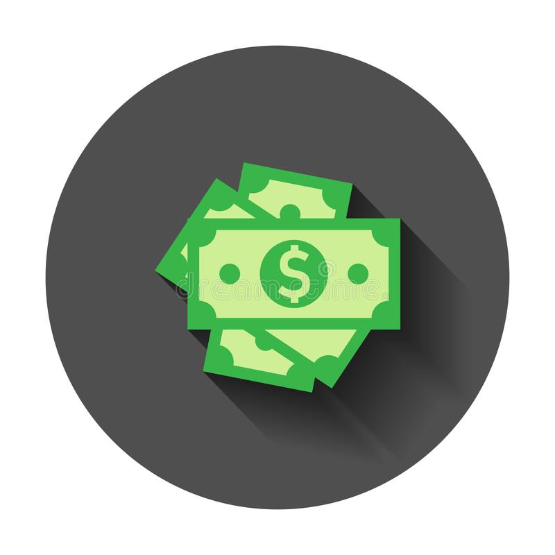 Dollar currency banknote icon in flat style. Dollar cash vector vector illustration