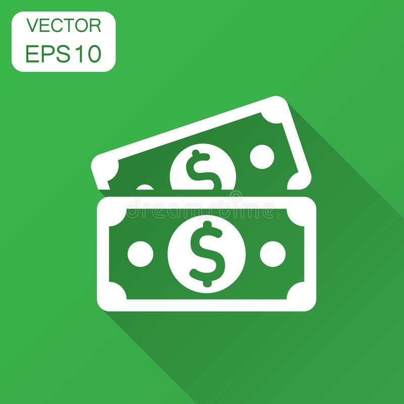 Dollar currency banknote icon in flat style. Dollar cash vector royalty free illustration