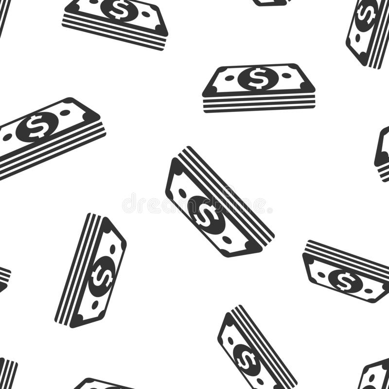 Dollar currency banknote icon seamless pattern background. Dollar cash vector illustration. Banknote bill symbol pattern royalty free illustration