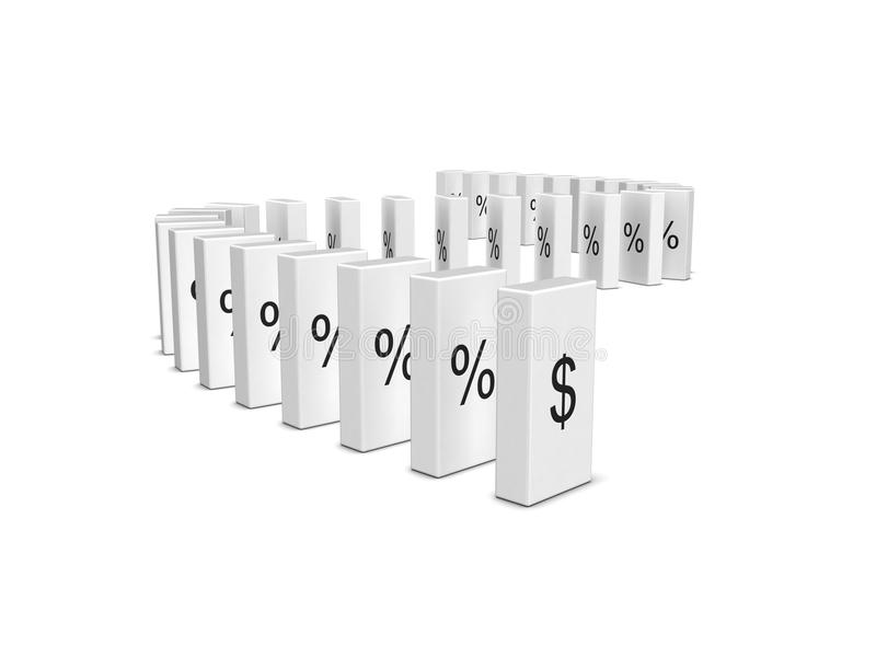 Dollar Currency Crash. Domino Effect Royalty Free Stock Image
