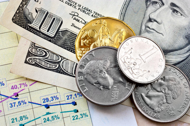 Dollar currency and Czech crown money - exchange rate stock images