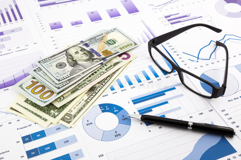 Dollar currency on graphs, financial planning and expense report. Dollar currency on financial charts, expense cash flow summarizing and graphs background stock images
