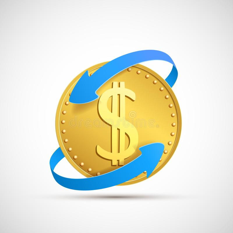 Free Dollar Currency Sign On Golden Coin. Stock Exchange And Remittance Royalty Free Stock Photography - 122877267