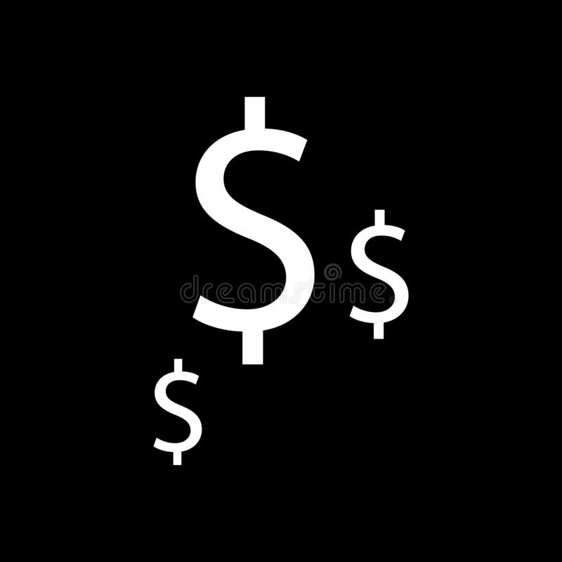 Dollar currency for web icons and symbols on a black background. Flat royalty free illustration