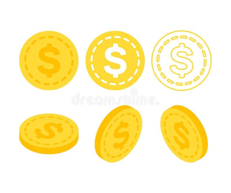 Dollar 3d vlak isometrisch geld royalty-vrije illustratie