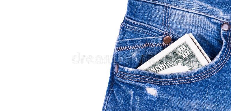 Dollar dans les jeans photographie stock