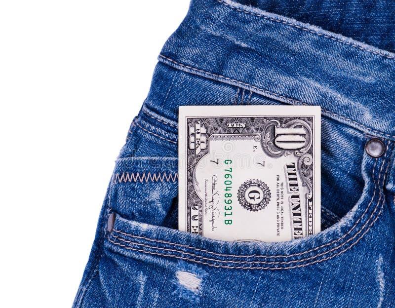Dollar dans les jeans photos stock