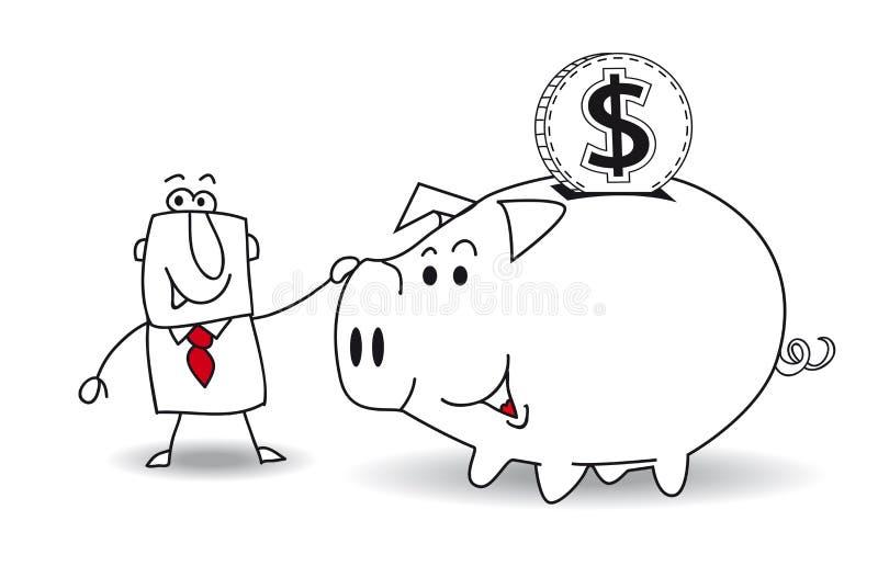 dollar de côté porcin illustration de vecteur