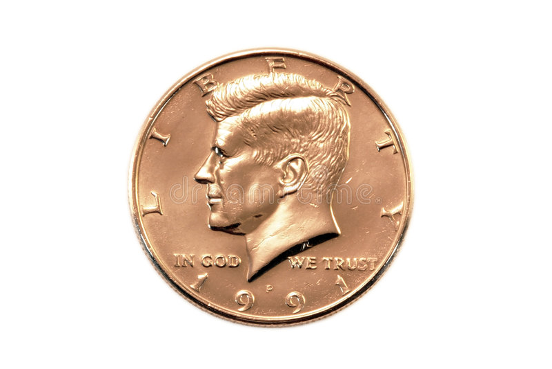 dollar de pièce de monnaie demi photographie stock libre de droits