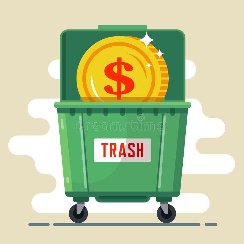 Dollar de pièce de monnaie dans le conteneur de déchets illustration de vecteur