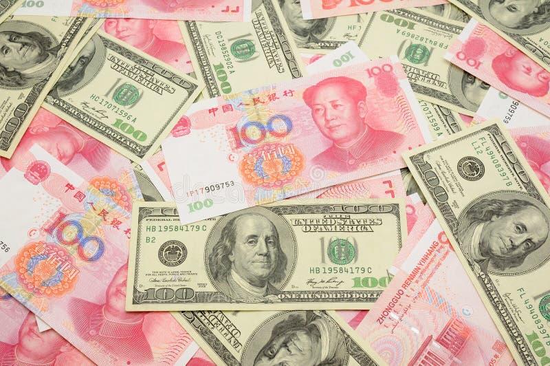 dollar de porcelaine de fond nous yuan photographie stock libre de droits