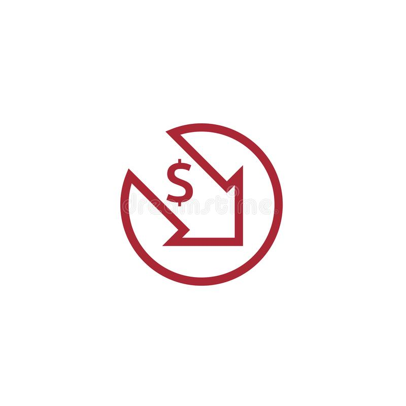 Dollar decrease icon. Money symbol with arrow stretching rising drop fall down. Business cost reduction icon. vector illustration. Dollar decrease icon. Money vector illustration