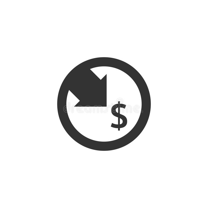 Dollar decrease icon. Money symbol with arrow stretching rising drop fall down. Business cost reduction icon. vector illustration. Dollar decrease icon. Money stock illustration
