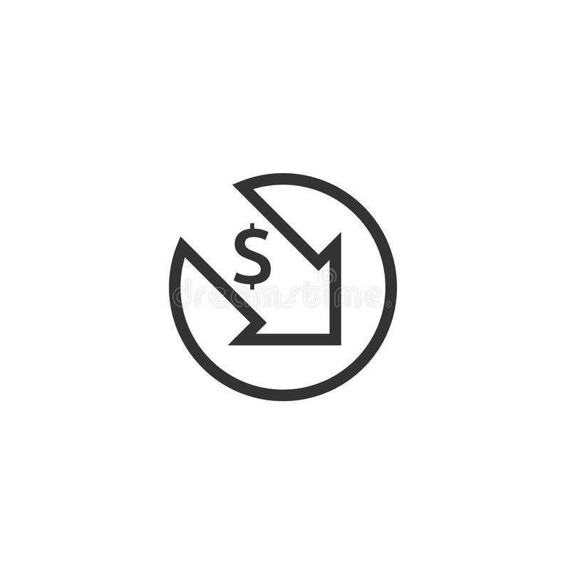 Dollar decrease icon. Money symbol with arrow stretching rising drop fall down. Business cost reduction icon. vector illustration. Dollar decrease icon. Money royalty free illustration