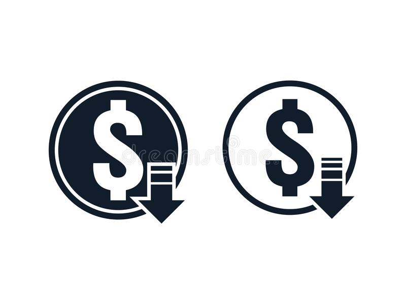Dollar decrease icon. Money symbol with arrow stretching rising drop fall down. Recession Business. cost reduction icon. vector il. Lustration royalty free illustration