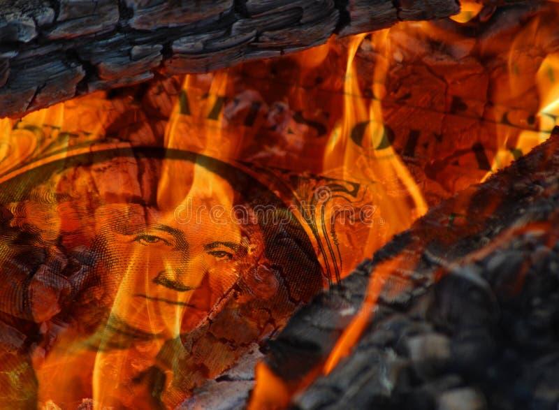 Dollar in den Flammen lizenzfreie stockfotos
