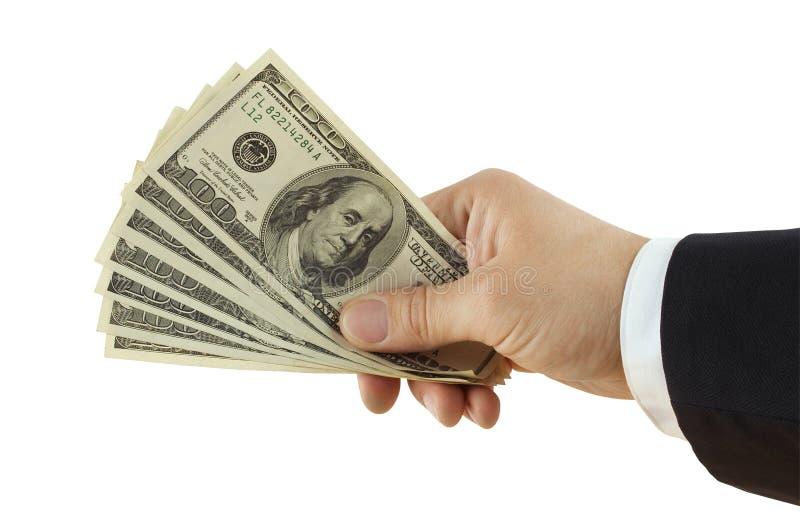 Dollar in der Hand stockfotos