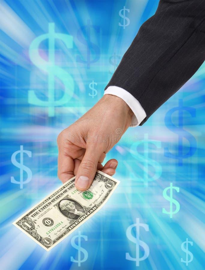 Dollar in der Hand stockfotografie