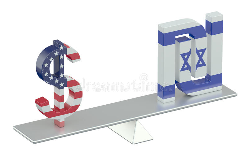 Dollar des Etats-Unis avec le shekel israélien, concept d'équilibre illustration de vecteur