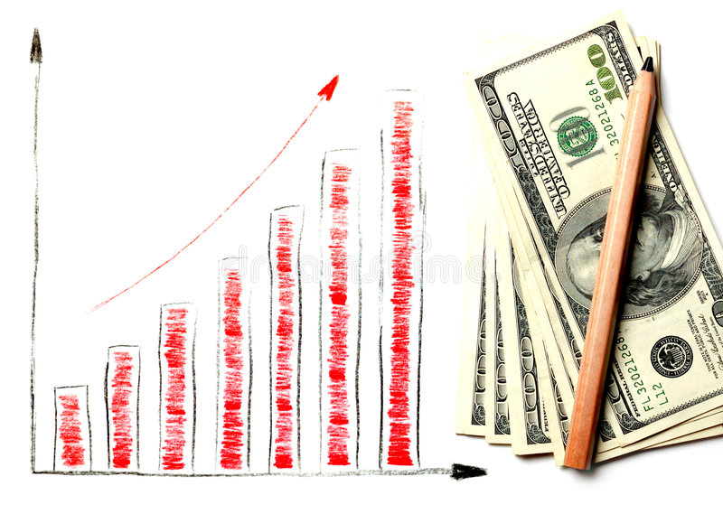 Dollar diagram. Isolated on white royalty free stock photography