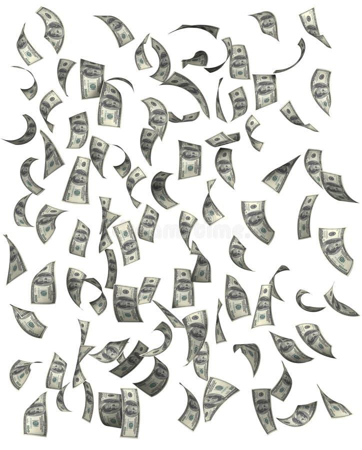 Dollar, die auf weißen Hintergrund fallen stockfoto