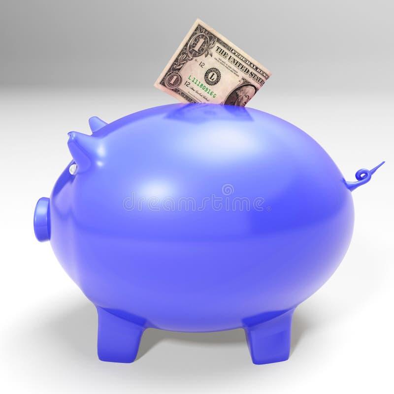 Dollar die Piggybank ingaan die Amerikaanse Besparingen tonen stock illustratie