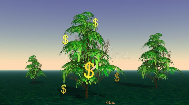 Dollar, die von einem Baum wachsen stock abbildung