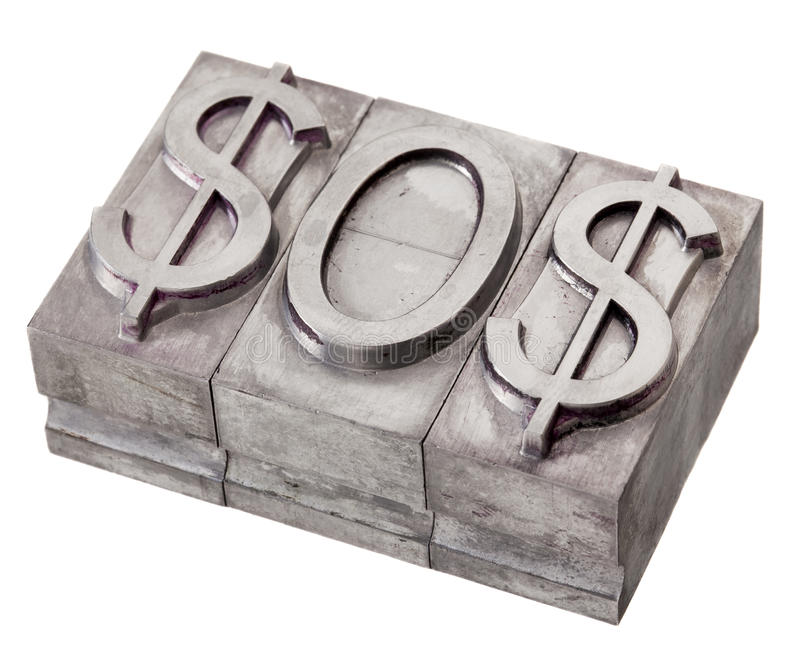 Dollar in distress - SOS signal stock photography