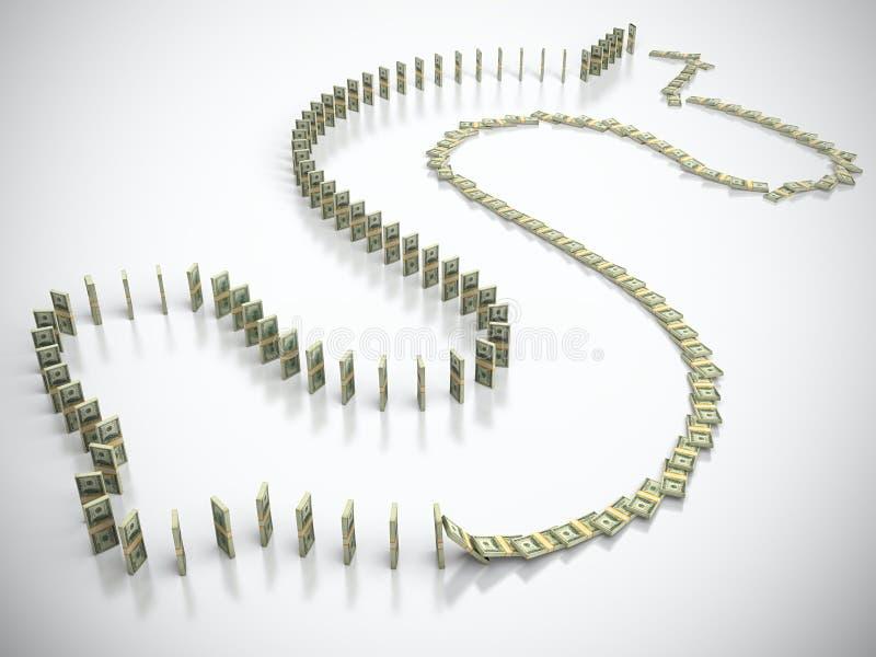 Download Dollar domino stock illustration. Image of savings, market - 24639661