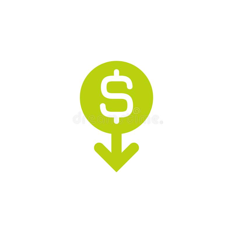 Dollar Down Icon White Dollar Sign In Green Circle With Arrow Down