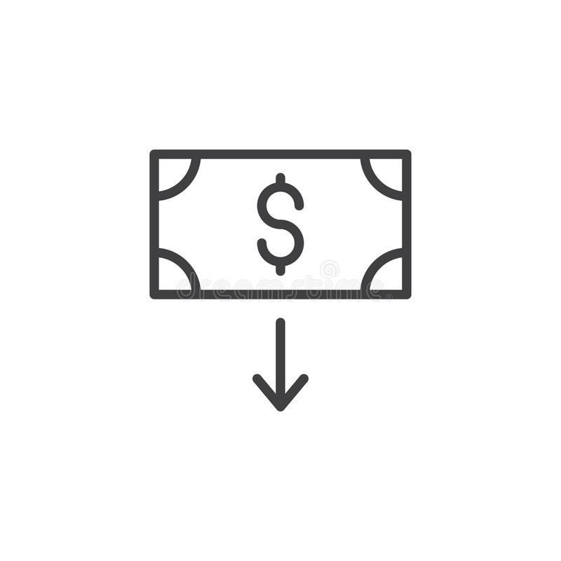 Dollar download outline icon. Linear style sign for mobile concept and web design. Money bill and arrow down simple line vector icon. Symbol, logo illustration royalty free illustration
