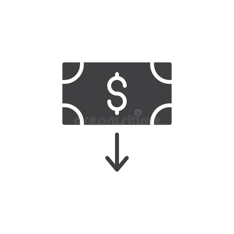 Dollar download vector icon. Filled flat sign for mobile concept and web design. Money bill and arrow down simple solid icon. Symbol, logo illustration. Pixel vector illustration