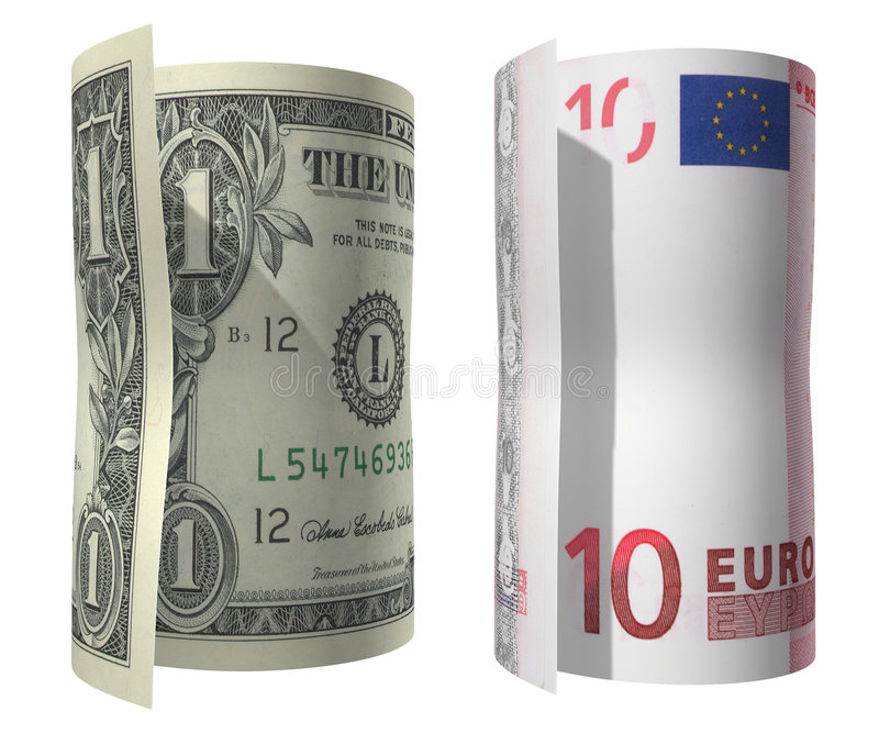Dollar en Euro 1 stock fotografie