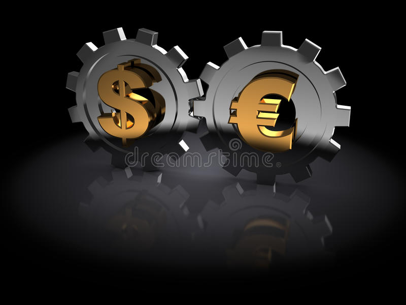 Dollar en euro vector illustratie