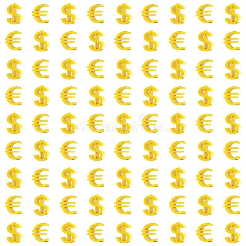 Dollar en Euro Monetair Tekens Naadloos Patroon stock illustratie