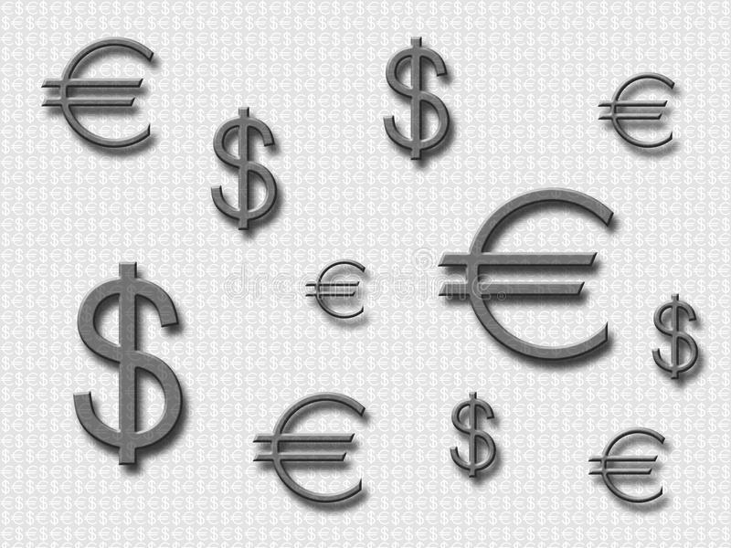Dollar et euro 3 illustration libre de droits