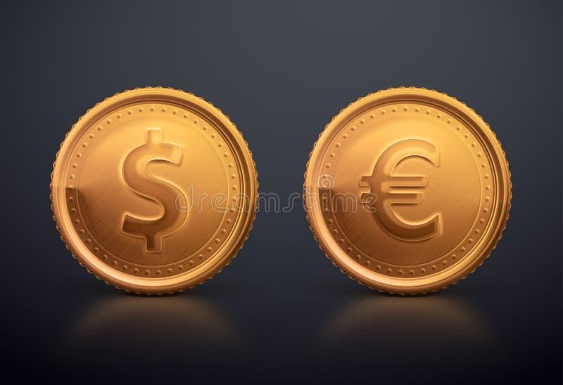 Dollar et euro de pièce de monnaie illustration stock