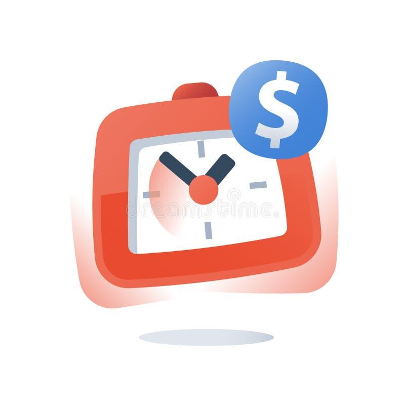 Dollar et horloge, acompte de paiement, le temps, c'est de l'argent, investissement ? long terme, pr?t rapide, compte d'?pargne d illustration stock