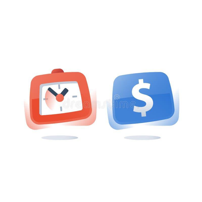 Dollar et horloge, acompte de paiement, le temps, c'est de l'argent, investissement ? long terme, pr?t rapide, compte d'?pargne d illustration de vecteur