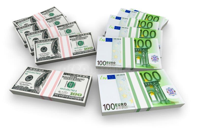 dollar euro royaltyfri illustrationer