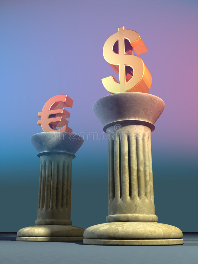 Dollar and euro. Symbols on two columns. Digital illustration royalty free illustration